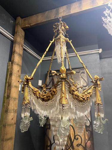 Large 20th Century Bronze Neoclassical Hanging Chandelier 'Pair available' (1 of 2)