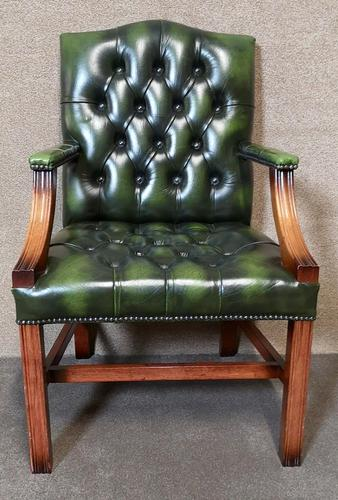 Green Leather Georgian Style Chesterfield Gainsborough Library / Office Chair (1 of 8)