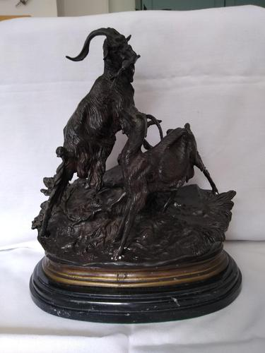 J Moigniez, Sculpture of Two Goats (1 of 3)