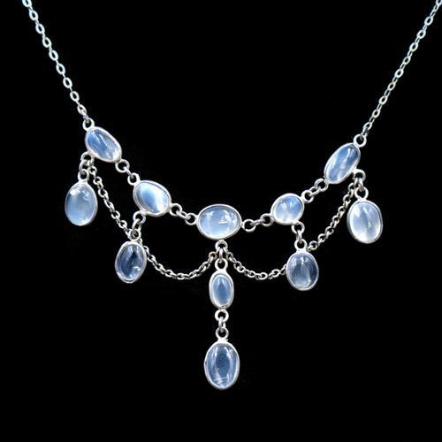 Antique Moonstone Sterling Silver Drop Fringe Festoon Necklace (1 of 8)