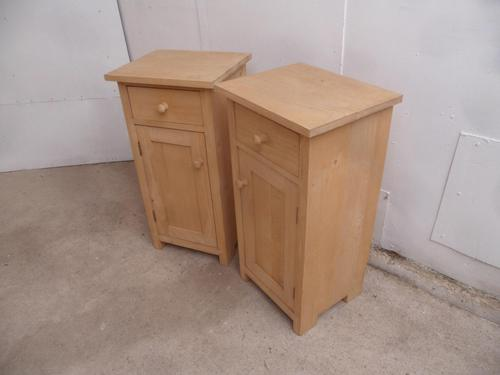Large Tall Pair of Antique Pine Bedside Cabinets to wax / paint (1 of 8)