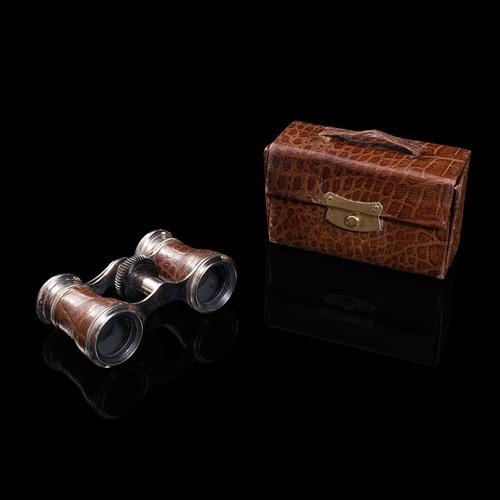Pair of Antique Opera Glasses, English, Leather, Theatre Binocular, Edwardian (1 of 12)
