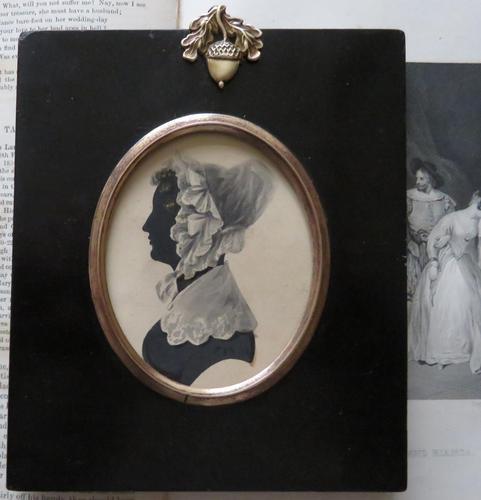 Late Georgian Portrait Silhouette Lady Lace Bonnet (1 of 4)