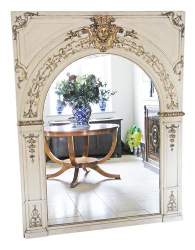 19th Century overmantle wall floor mirror painted (1 of 7)