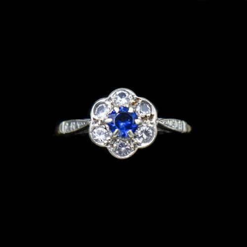 Antique Blue Sapphire & White Sapphire 9ct Gold Cluster Daisy Ring (1 of 10)