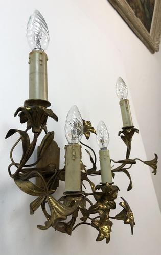 French Gilt Toleware Lilly Wall Lights Sconces (1 of 12)
