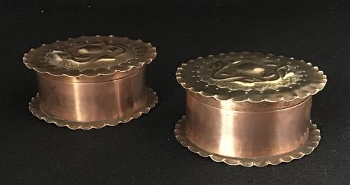 Pair of Arts and Crafts Repousse Trinket Pots (1 of 5)