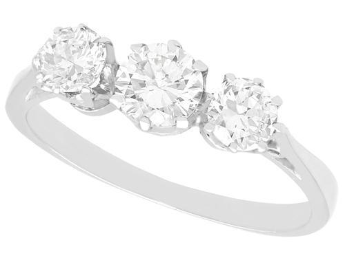 1.00ct Diamond & Platinum Trilogy Ring c.1925 (1 of 9)