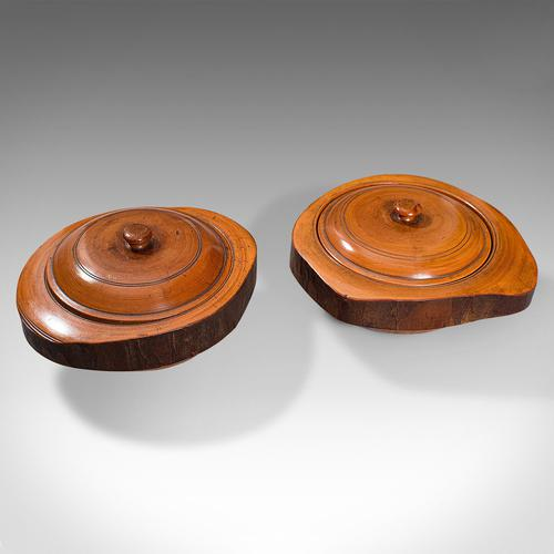 Pair Of Antique Carved Lidded Bowls, Treen, English, Yew, Victorian, Circa 1900 (1 of 12)
