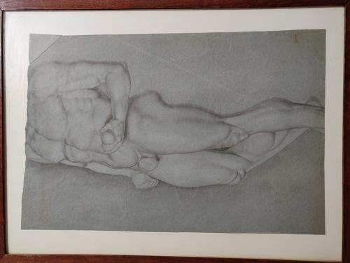 Antique Original 19th Century Drawing of Nude Male Figure (1 of 20)