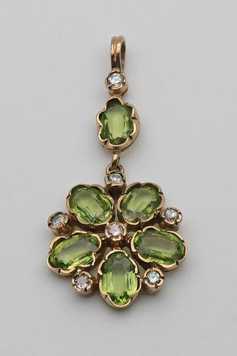 20th Century Gold Peridot & Diamond  Pendant (1 of 4)