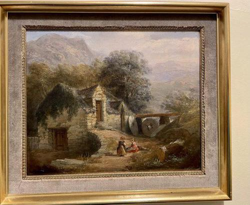 19th Century Charming Oil on Board of Welsh Mill (1 of 3)