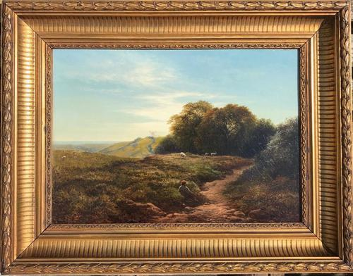 A Sussex Downland Scene' an Oil Painting by Arthur Gilbert Circa 1880 (1 of 2)