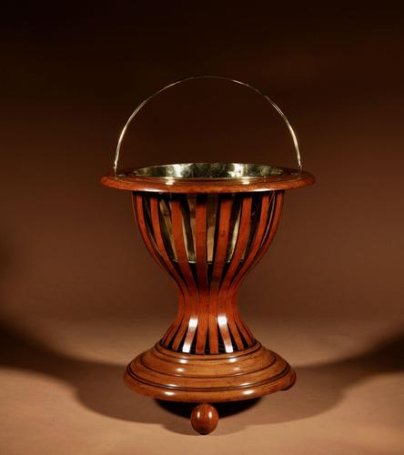Dutch Hourglass Shaped Original Inlayed Mahogany Theestoof 'Tea Stove' Jardinière (1 of 7)