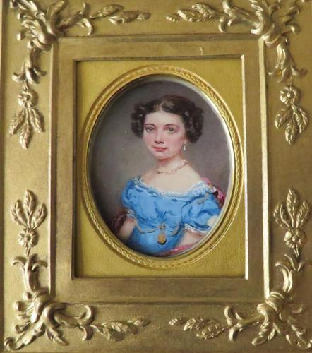 Miniature Portrait Young Girl in Period Frame C.1860 (1 of 5)