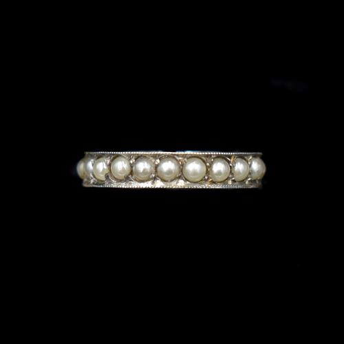 Art Deco Pearl Full Eternity Sterling Silver Band Ring (1 of 10)