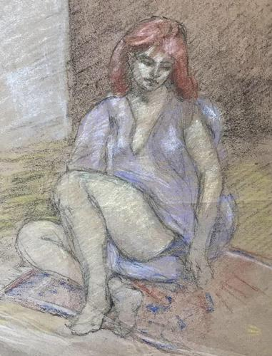 Original pastel 'Seated figure' by Dennis Gilbert NEAC. B.1922. From a studio collection (1 of 2)