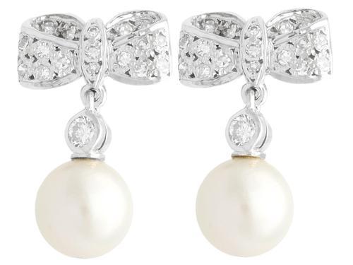 0.36ct Diamond & Pearl, 18ct White Gold Drop Earrings - Vintage c.1940 (1 of 9)