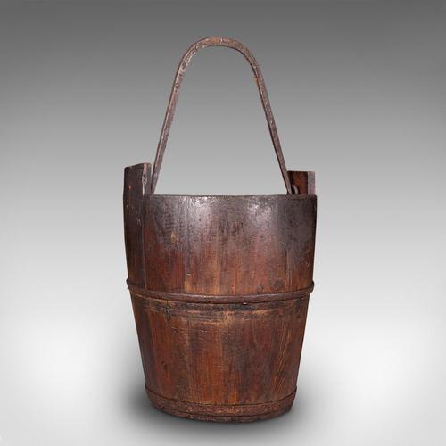 Antique Well Bucket, English, Fruitwood, Wrought Iron, Fireside Bin, Georgian (1 of 12)