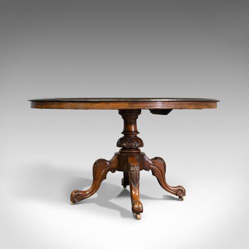 Antique Breakfast Table, English, Walnut, Mahogany, Tilt Top, Oval, Victorian (1 of 12)