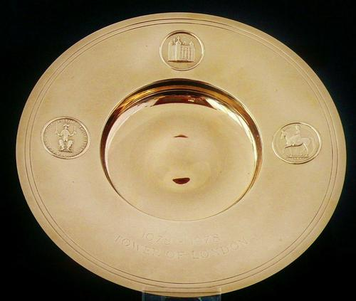 Rare 9ct Gold Tower of London Armada Dish, Number 8 of 9 made (1 of 11)