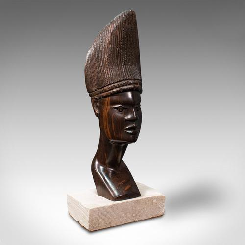 Antique Hand Carved Female Bust, African, Ebony, Ornamental Figure c.1900 (1 of 12)