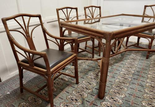 Regency Style Simulated Bamboo Conservatory Table & 6 Chairs (1 of 7)