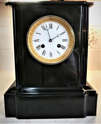 Wonderful 1863 French Striking Black Slate Mantel Clock (1 of 5)
