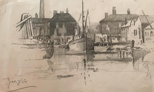 2 original pencil drawings 'Lincolnshire scenes' by Edward Brannan. b.1984. (1 of 2)