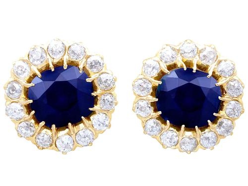 7.05ct Sapphire & 2.31ct Diamond, 18ct Yellow Gold Cluster Earrings c.1930 (1 of 9)