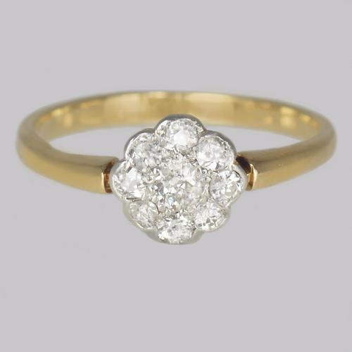 Old Cut Diamond Cluster Ring 18ct Gold Vintage Daisy Ring c.1920 / 1930s (1 of 8)