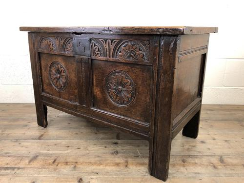 Small 18th Century Carved Oak Coffer (1 of 13)