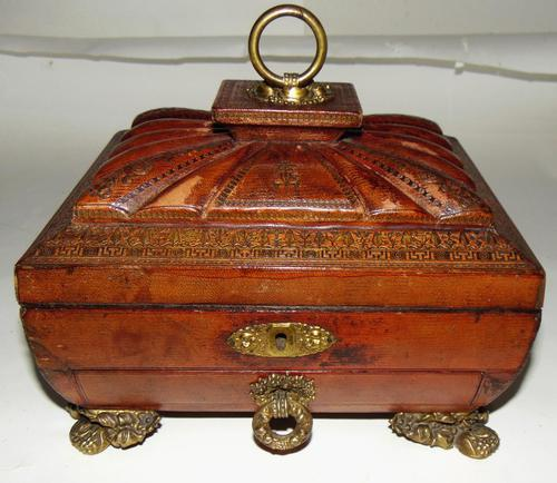 Regency Leather Covered Work Box (1 of 7)