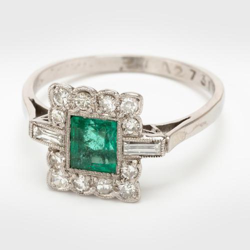 Art Deco Emerald & Diamond Cluster Engagement Ring c.1930 (1 of 7)