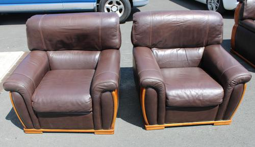 1960's Retro Pair Brown Leather Armchairs (1 of 3)