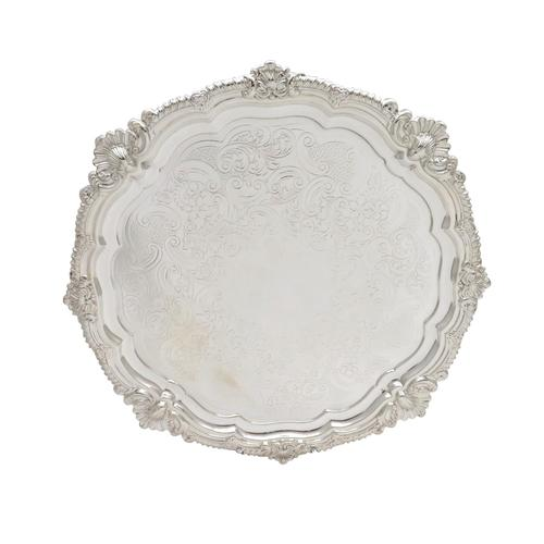 """Antique Edwardian Sterling Silver 11"""" Tray / Salver 1902 (1 of 8)"""