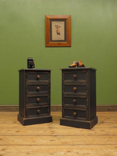 Pair of Black Painted Bedside Chests, Gothic Shabby Chic (1 of 12)
