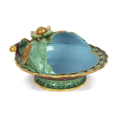 Minton Majolica Pottery Pedestal Chestnut Dish Dated 1867 (1 of 14)