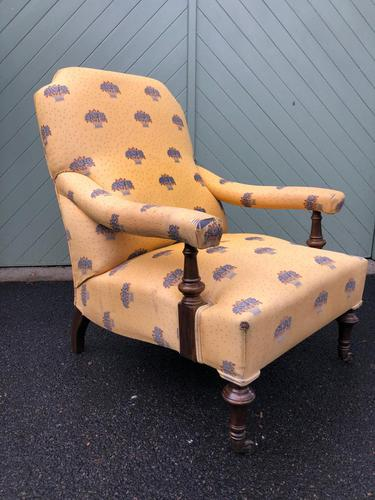 English Walnut Upholstered Armchair for recovering (1 of 8)