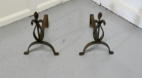 Pair of French 19th Century Iron Andirons or Fire Dogs (1 of 4)