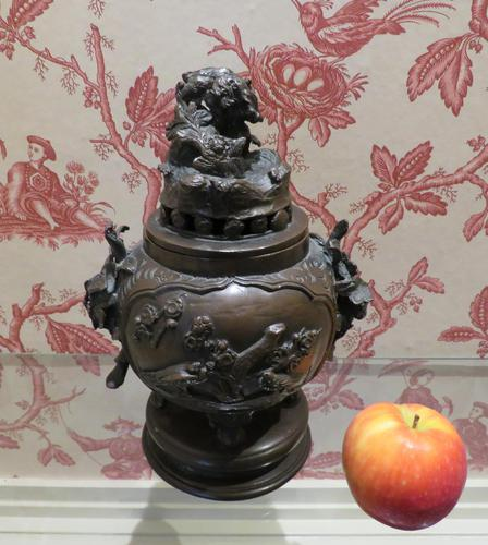 Japanese Bronze Censer & Cover with Kylin on a Rock on the Lid (1 of 10)