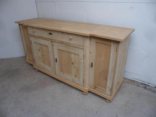 2 Metre Antique Pine 4 Door Breakfront Sideboard / TV Stand to wax / paint (1 of 9)