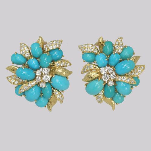 Vintage Julius Cohen Cluster Earrings Turquoise & Diamond 1960s Flower Earrings (1 of 12)