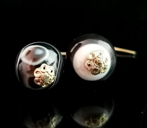 Antique Victorian Agate Drop Earrings, 9ct Gold (1 of 10)
