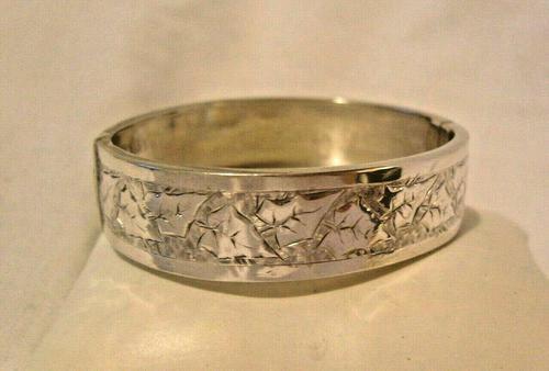"""Victorian Sterling Silver Bangle 1890s Antique Ivy Leaf Bracelet 6 1/2"""" Length (1 of 9)"""