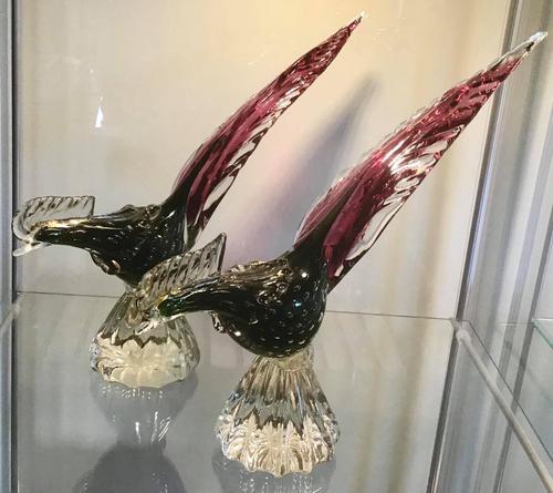 Pair of Murano Glass Cranberry Pheasants   1950's (1 of 4)