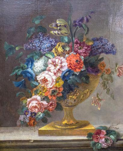 18th Century French Oil Painting. Still Life of Flowers. Artist: J. L Boizet 1789 (1 of 11)