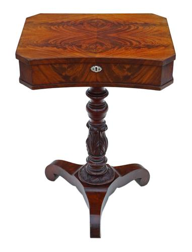 Victorian C1840 Flame Mahogany Work Side Sewing Table Box (1 of 10)