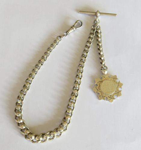 Unusual 1920s Silver Watch Chain & Fob (1 of 4)