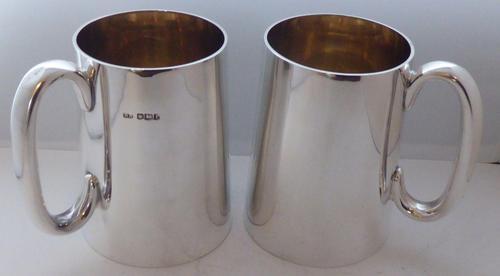 Rare Pair of Hallmarked Solid Silver Tankard Christening Mug (1 of 11)